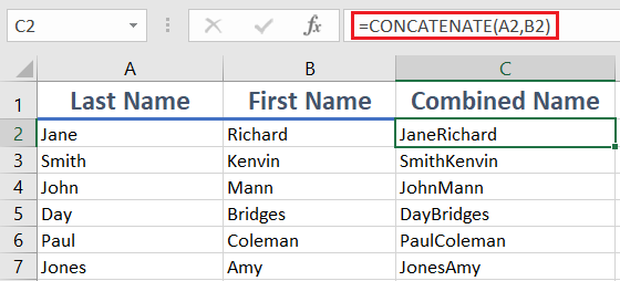 CONCATENATE 1 - How to use the Excel CONCATENATE function