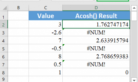 Excel ACOSH function 1 445x265 - How to use the Excel ACOSH function
