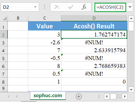 Excel ACOSH function 1 - How to use the Excel ACOSH function