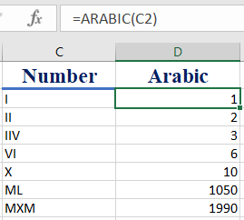 Excel ARABIC function 1 - How to use the Excel ARABIC function