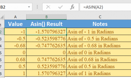 Excel ASIN function 1 445x265 - How to use the Excel ASIN function