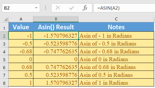How to use the Excel ASIN function