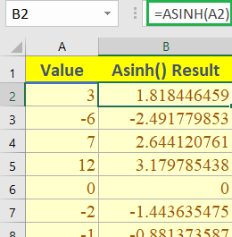 Excel ASINH function 1 260x265 - How to use the Excel ASINH function