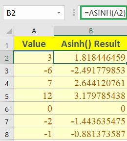 How to use the Excel ASINH function