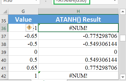Excel ATANH function 1 412x265 - How to use the Excel ATANH function