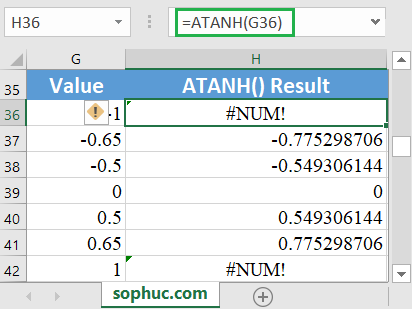 How to use the Excel ATANH function