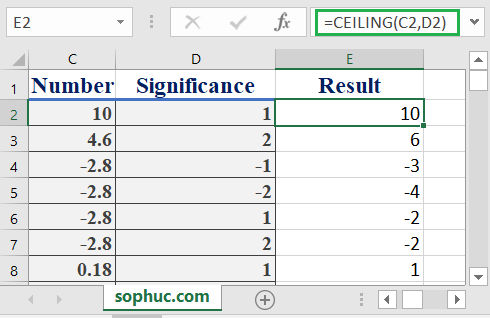 How to use the Excel CEILING function
