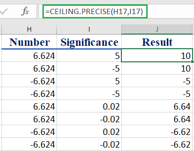 How to use the Excel CEILING.PRECISE function