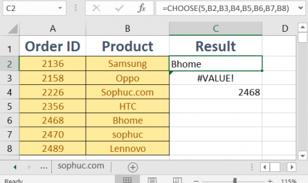 Excel CHOOSE 445x265 - How to use the Excel CHOOSE function