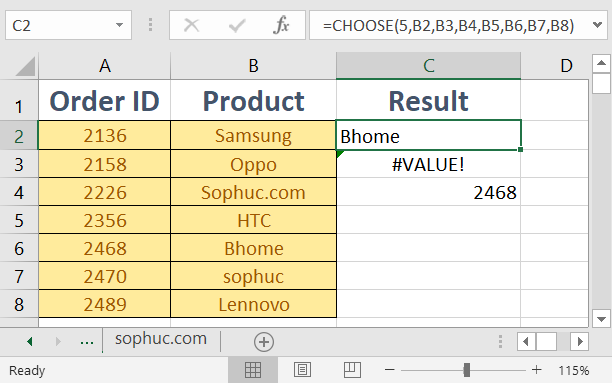 How to use the Excel CHOOSE function