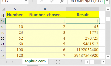 Excel COMBIN function 1 445x265 - How to use the Excel COMBIN function