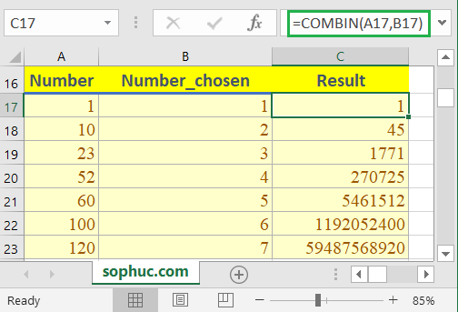 Excel COMBIN function 1 - How to use the Excel COMBIN function