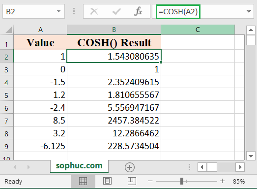How to use the Excel COSH function