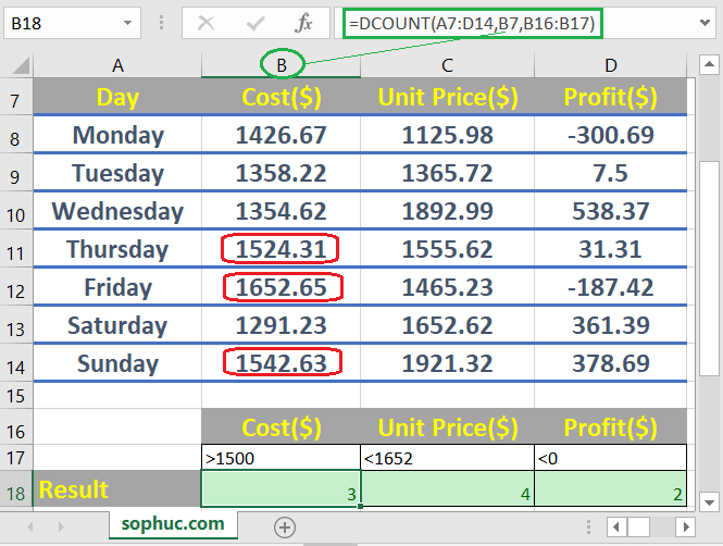How to use the Excel DCOUNT function