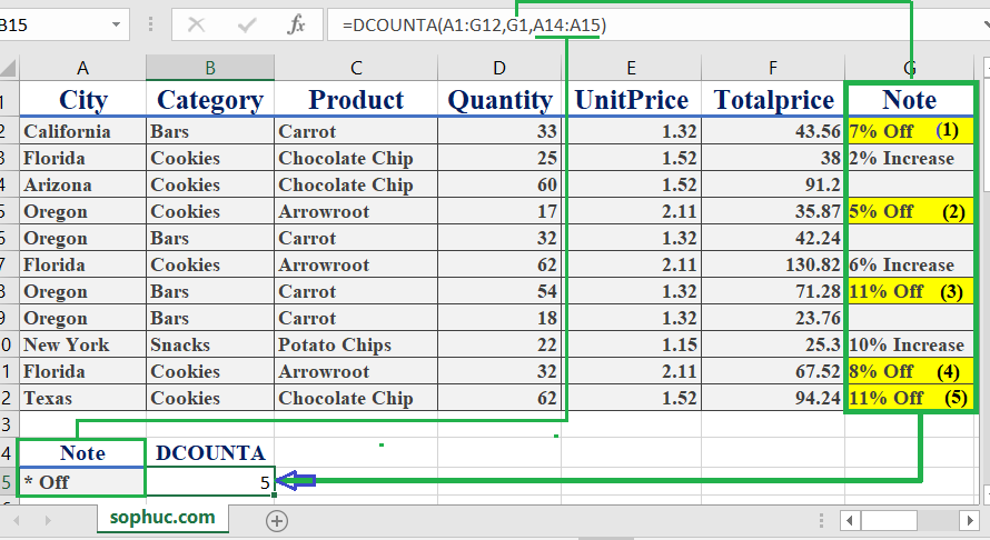 How to use the Excel DCOUNTA function