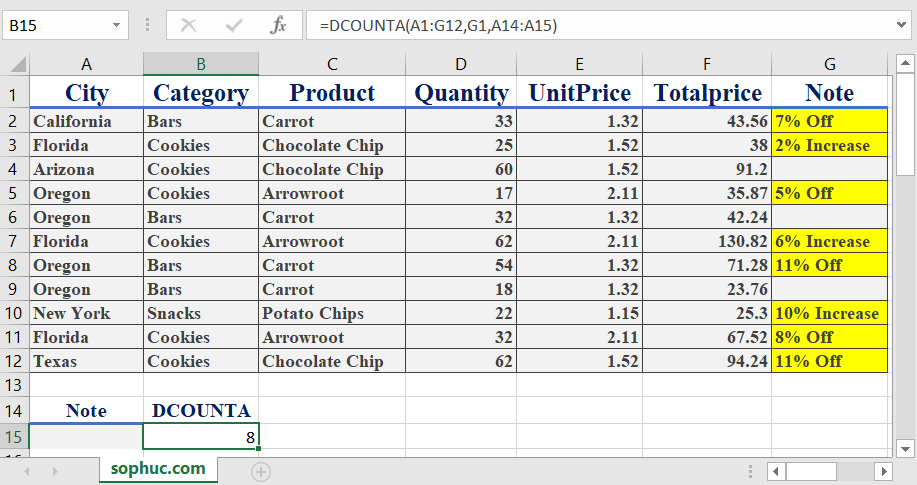 Excel DCOUNTA function 3 - How to use the Excel DCOUNTA function