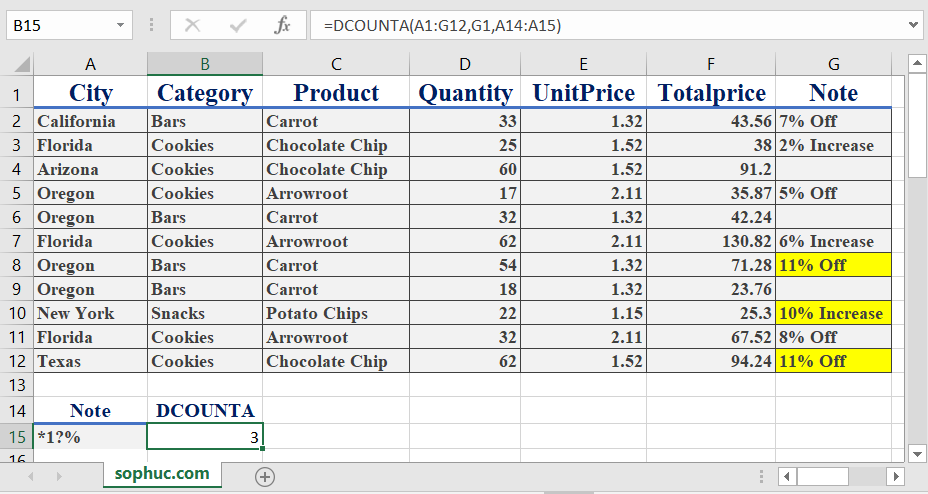 Excel DCOUNTA function 4 - How to use the Excel DCOUNTA function