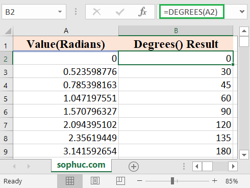 Excel DEGREES function 1 - How to use the Excel DEGREES function