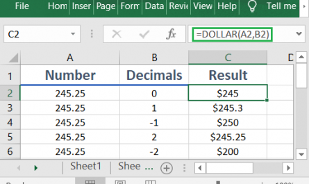 Excel DOLLAR function 445x265 - How to use the Excel DOLLAR function
