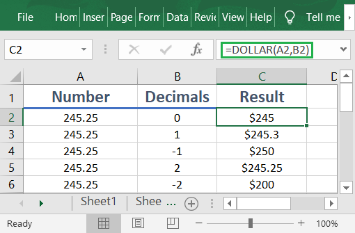How to use the Excel DOLLAR function