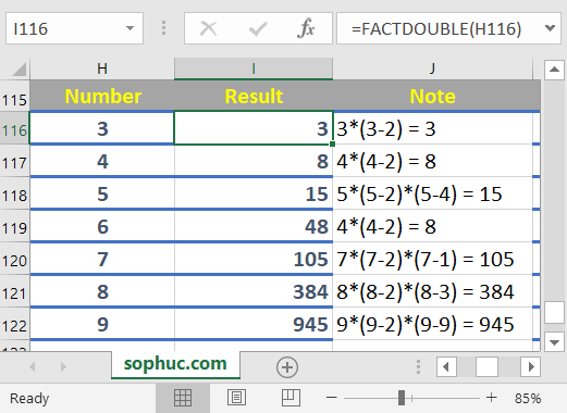 Excel FACTDOUBLE function 1 - How to use the Excel FACTDOUBLE function