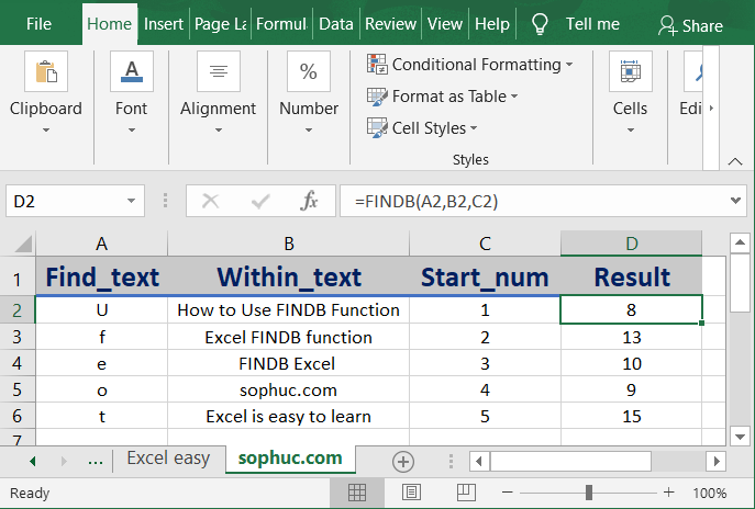 How to use the Excel FINDB function