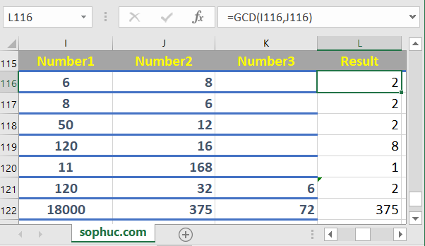 Excel GCD function 1 - How to use the Excel GCD function