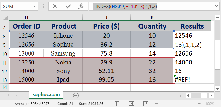 Excel INDEX function 1 - How to use the Excel INDEX function
