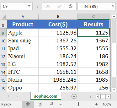 How to use the Excel INT function