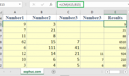 Excel LCM function 2 445x265 - How to use the Excel LCM function