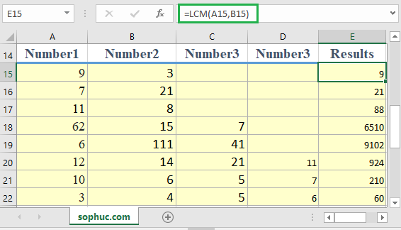 How to use the Excel LCM function