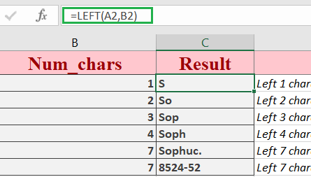 Excel LEFT Function 445x253 - How to use the Excel LEFT function
