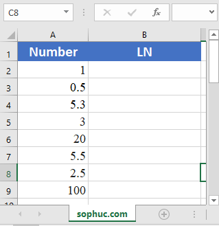 Excel LN function - How to use the Excel LN function