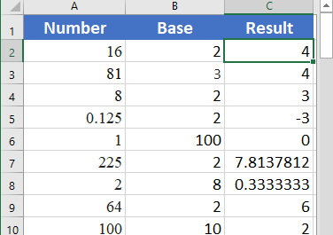 Excel LOG function 3 376x265 - How to use the Excel LOG function