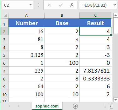 How to use the Excel LOG function