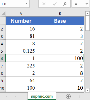 Excel LOG function - How to use the Excel LOG function
