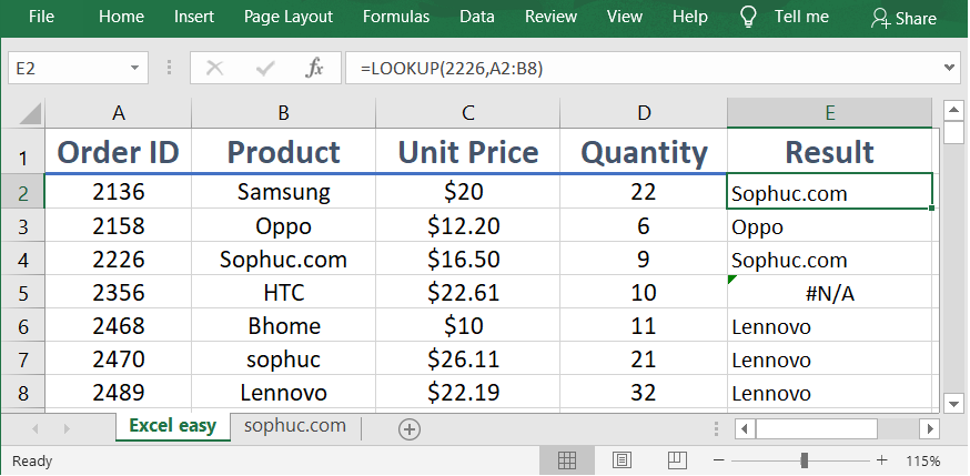 Excel LOOKUP function 1 - How to use the Excel LOOKUP function