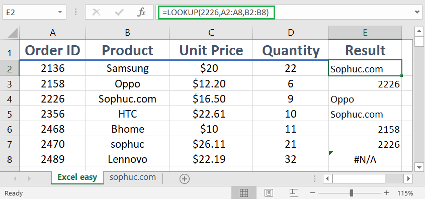 How to use the Excel LOOKUP function