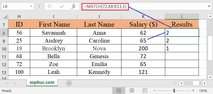 Excel MATCH function 1 - How to use the Excel MATCH function