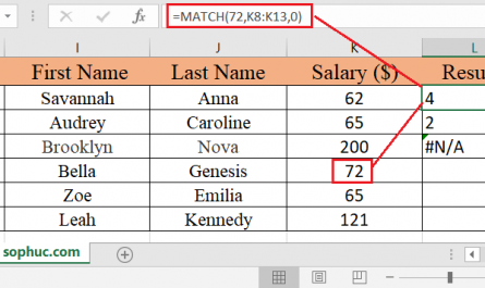 Excel MATCH function 2 445x265 - How to use the Excel MATCH function