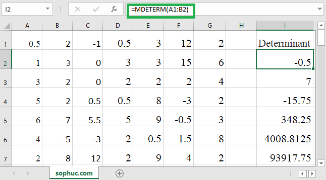 How to use the Excel MDETERM function