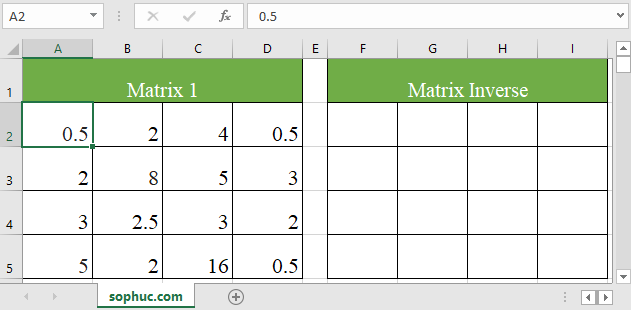 Excel MDETERM function 2 - How to use the Excel MINVERSE function