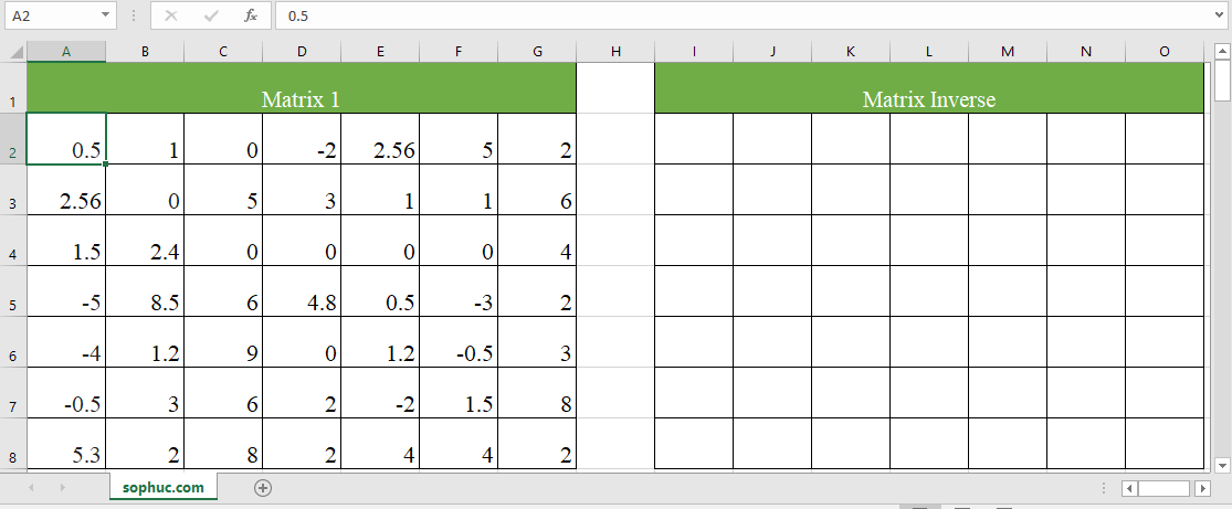 Excel MDETERM function 4 - How to use the Excel MINVERSE function