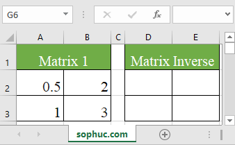 Excel MINVERSE function 1 - How to use the Excel MINVERSE function