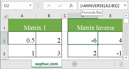 Excel MINVERSE function 2 - How to use the Excel MINVERSE function