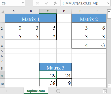 Excel MMULT function 2 - How to use the Excel MMULT function