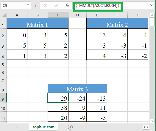 Excel MMULT function 3 - How to use the Excel MMULT function