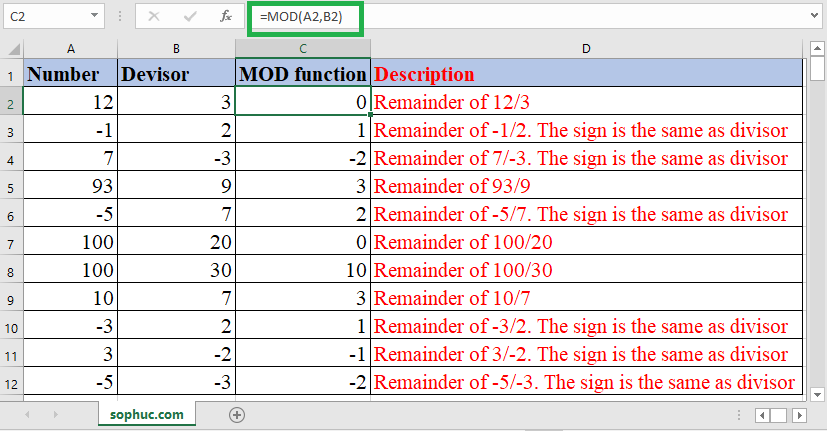 Excel MOD function - How to use the Excel MOD function