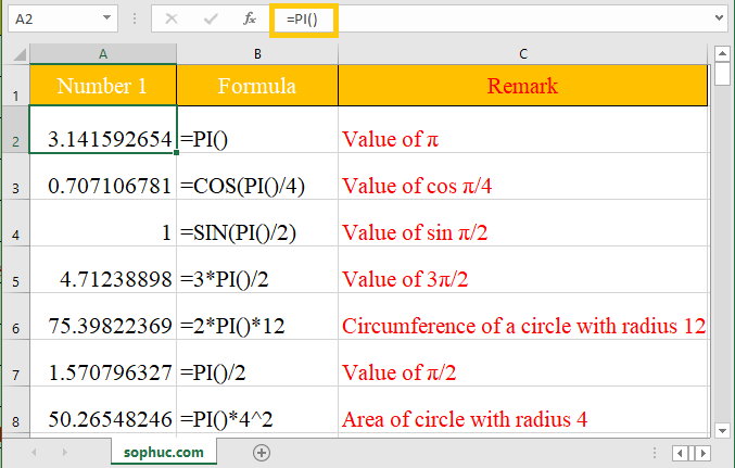 Excel PI function - How to use the Excel PI function
