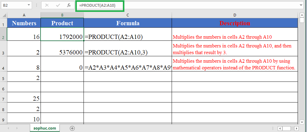 Excel PRODUCT function - How to use the Excel PRODUCT function